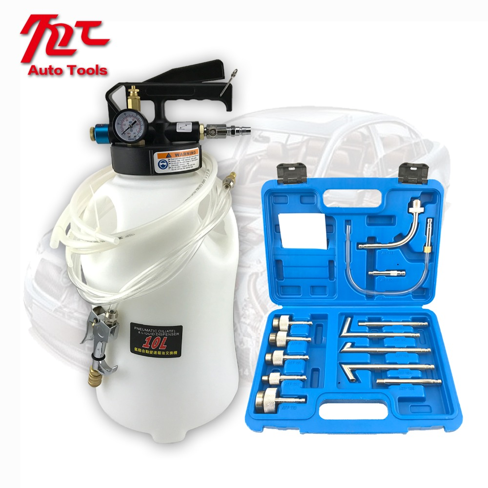 10L Pneumatic Transmission Oil Filling Tool Fluid Extractor Dispenser Refill Pump Tool Kit With 13pcs ATF