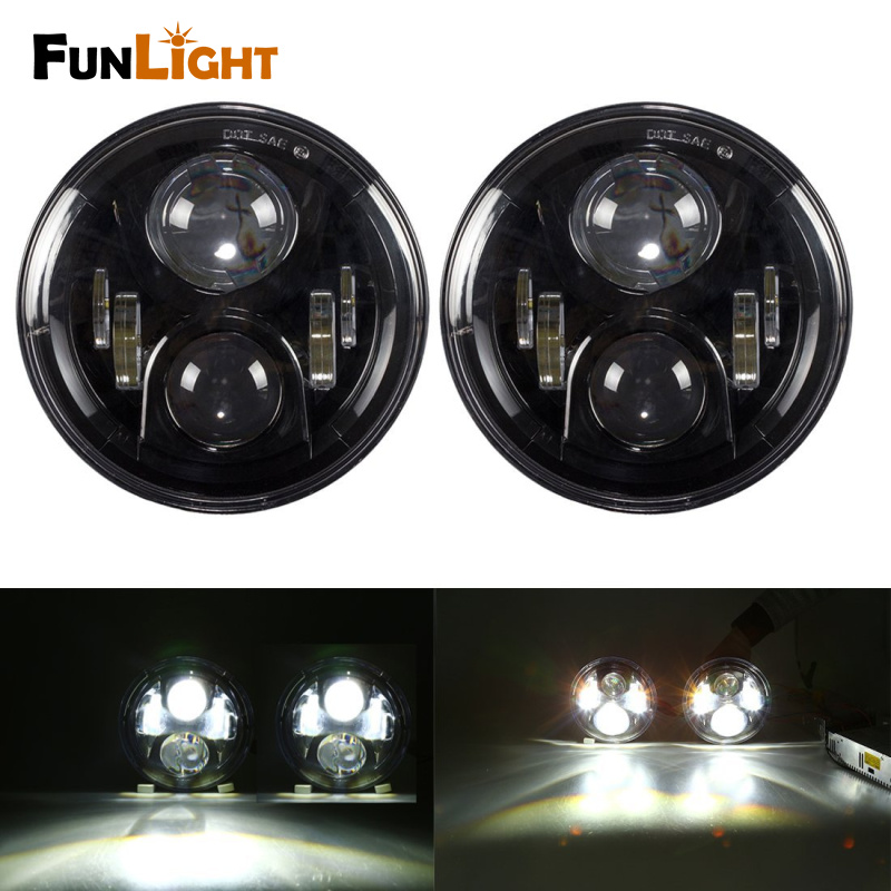 7 Inch Round LED Headlights LED Chips Lamp H4 H13 Projection Headlight Kit for Jeep Wrangler JK TJ LJ Hummer H1 windshield pillar mount grab handles for jeep wrangler jk and jku unlimited solid mount grab textured steel bar front fits jeep