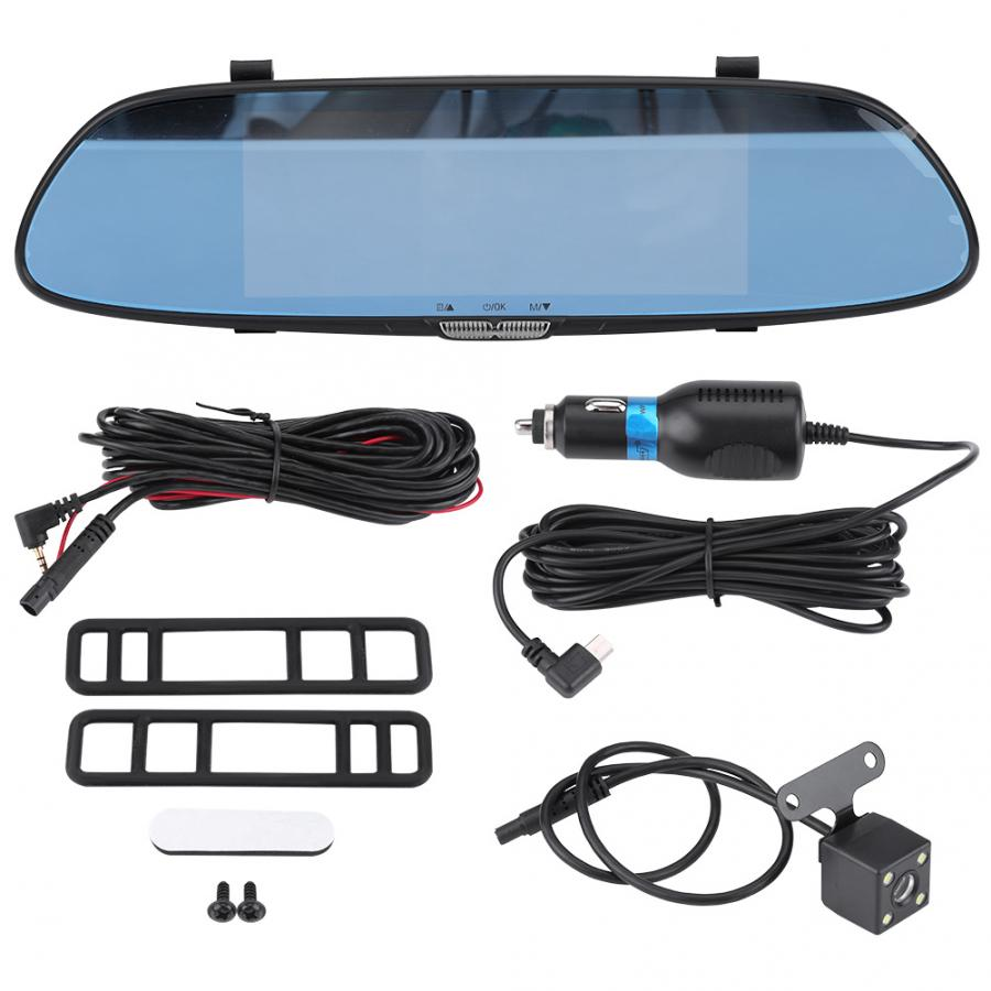 Oversea Car DVR Dual Lens Camera Rear View Mirror Driving Video Recorder Night Vision 7inch 1080P HD Car Accessories(China)