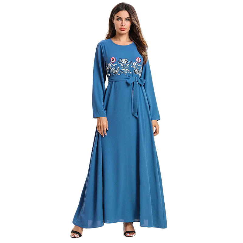 WHZHM Autumn Flower Rayon Women Robe Dress Floral Embroidery Female Plus Size 3XL 4XL Loose Maxi