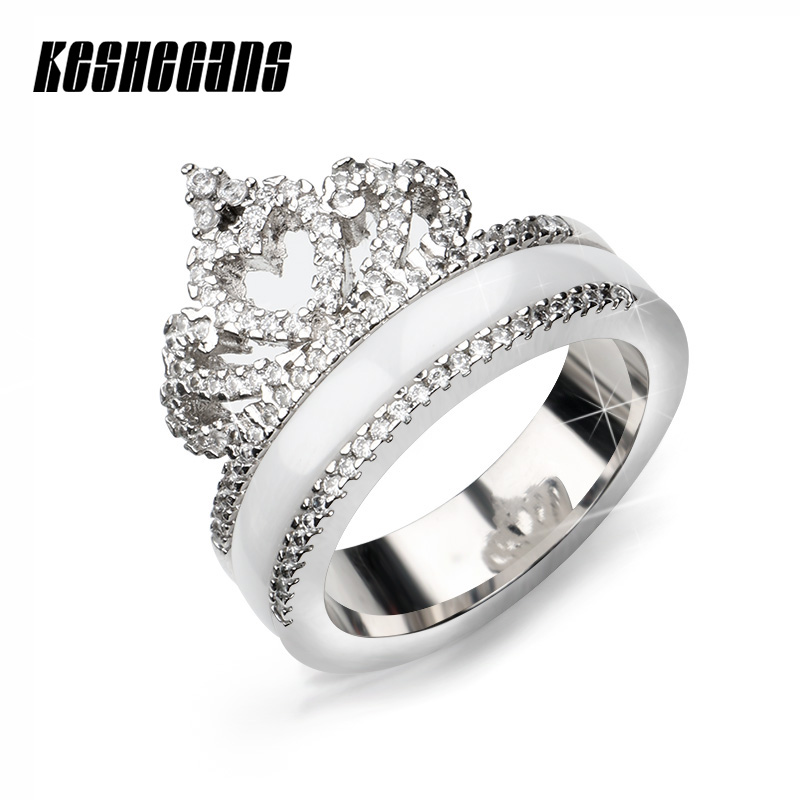 Exquisite Princess Queen Crown Shaped Ceramic Ring Shining Crystal CZ Ring For Women Girl Wedding Party Zirconia Fashion Jewelry цена