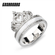 Exquisite Princess Queen Crown Shaped Ceramic Ring Shining Crystal CZ Ring For Women Girl Wedding Party Zirconia Fashion Jewelry(China)