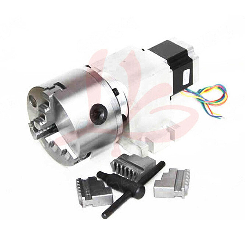 Harmonic Wave Driver Reducer 3 Jaw 100mm 14-100-100A Chuck CNC Dividing Head Rotary Axis For CNC Carving Machine