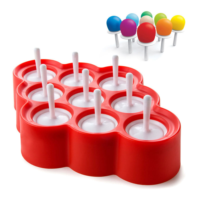 9 mini popsicle mold baby DIY multi-purpose food grade silicone easy to clean oil-resistant ice cream mold kitchen supplies hot