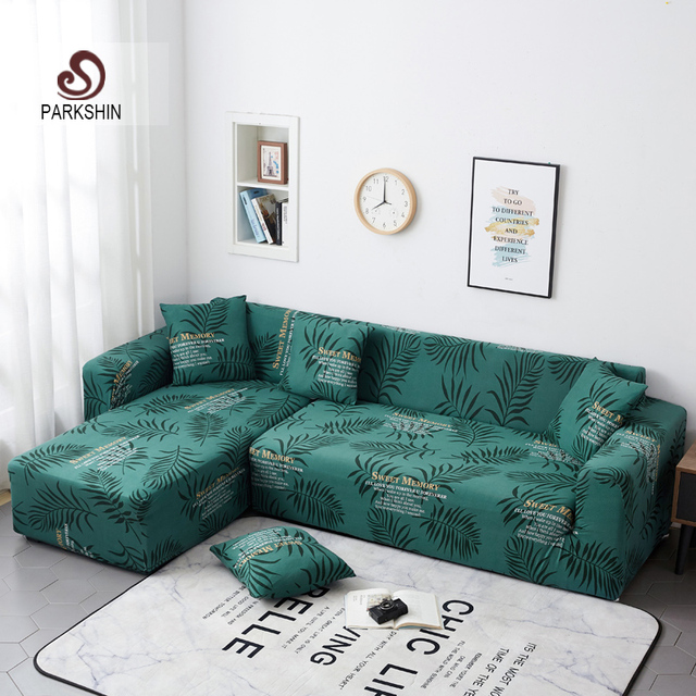 Parkshin Fashion Leaf Slipcover Stretch Sofa Covers Furniture Protector Polyester Loveseat Couch Cover Sofa Towel 1/2/3/4 seater