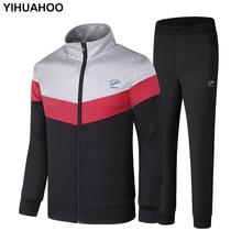 YIHUAHOO מותג אימונית גברים מעיל ומכנסיים שתי חתיכה בגדי סט מזדמן ספורט סווטשירט גברים אימונית XXXXXL LB 86011