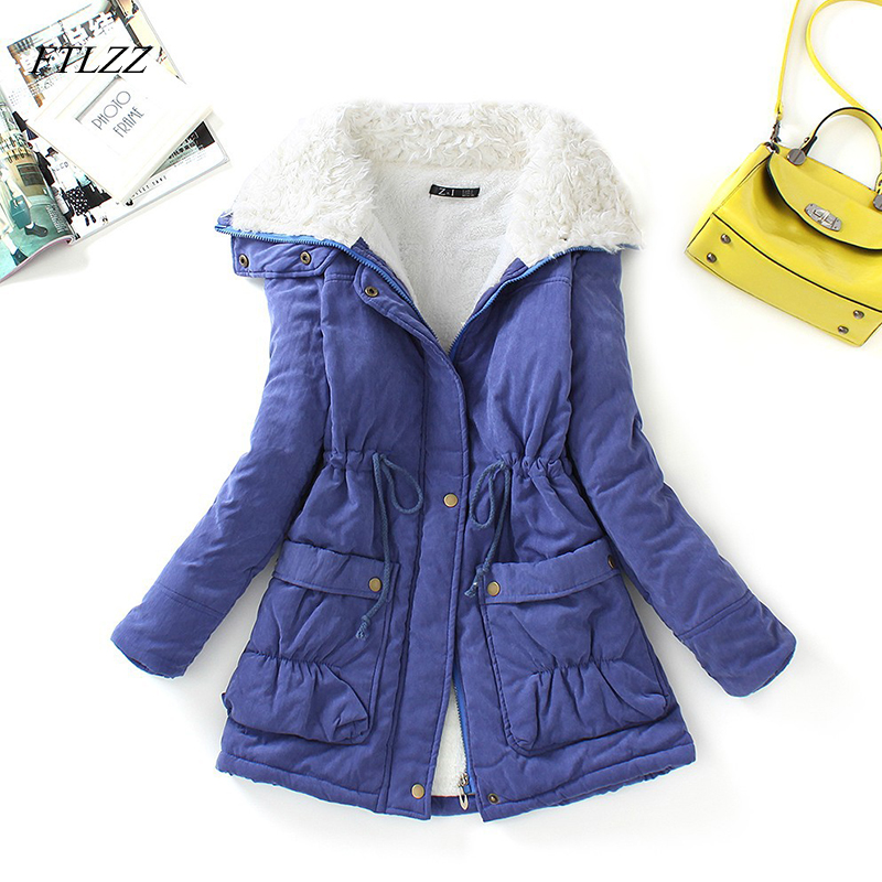 FTLZZ Winter Cotton Coat Women Slim Snow Outwear Medium Long Wadded Jacket Thick Cotton Padded Casual Sash Tie Up Parkas