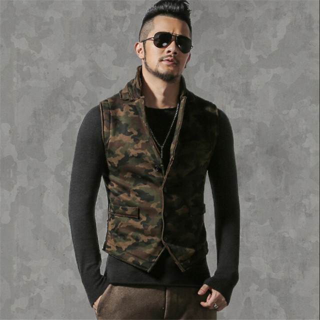 Camouflage Men Autumn Vest Thicken Warm Winter Men'S Waistcoat Brand Clothing Vest Male Vintage Fashion A2807