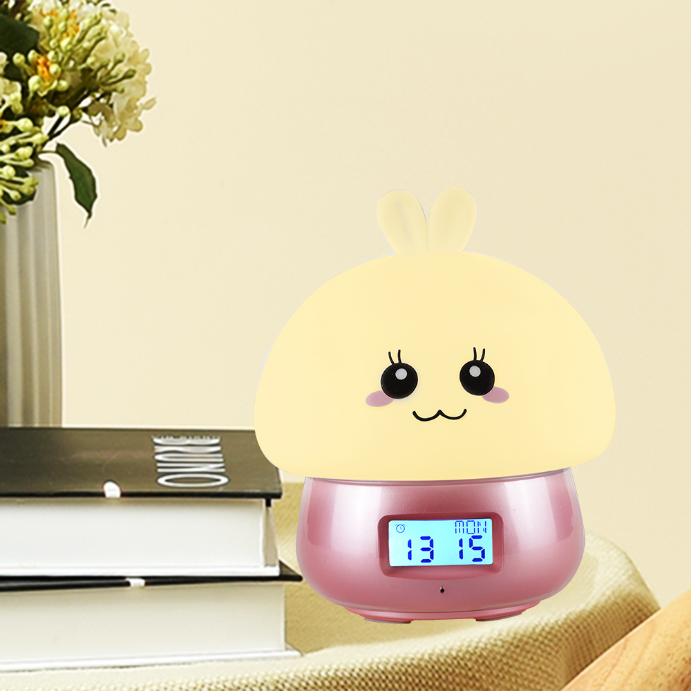 Led Charging Silicone Rabbit Night light Multifunctional Alarm Clock With Remote Control Colorful Desk Lamp for Bedroom Wake Up colorful waterdrop cartoon led charging night light