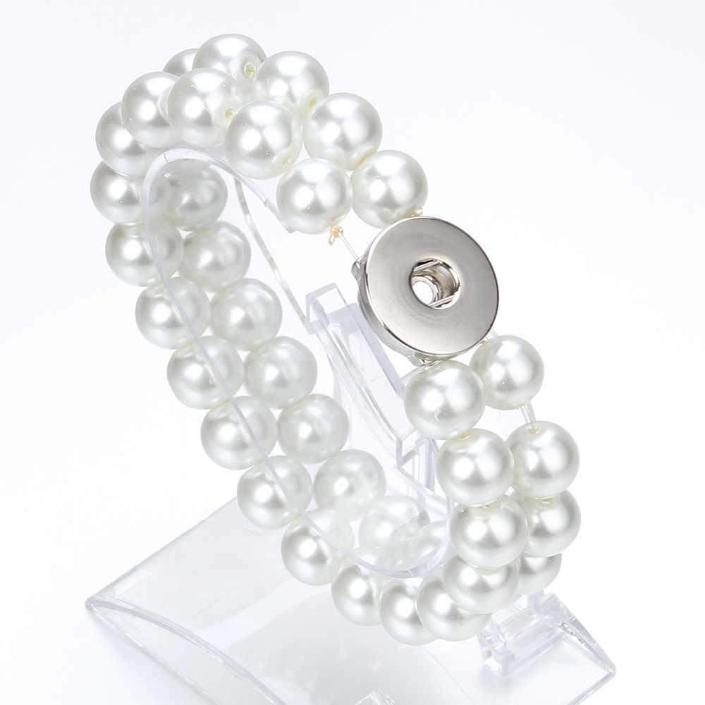 Новые бусины оснастки браслет двойной слой черный натуральный камень бисерный браслет подходит 18 мм 20 мм кнопки ювелирные изделия для женщин и мужчин
