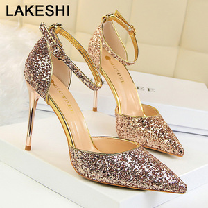 Spring New Women Pumps Fashion High Heels Women Shoes Silver Stiletto Gold Wedding Shoes Women Party Shoes Sexy Girls Shoes(China)