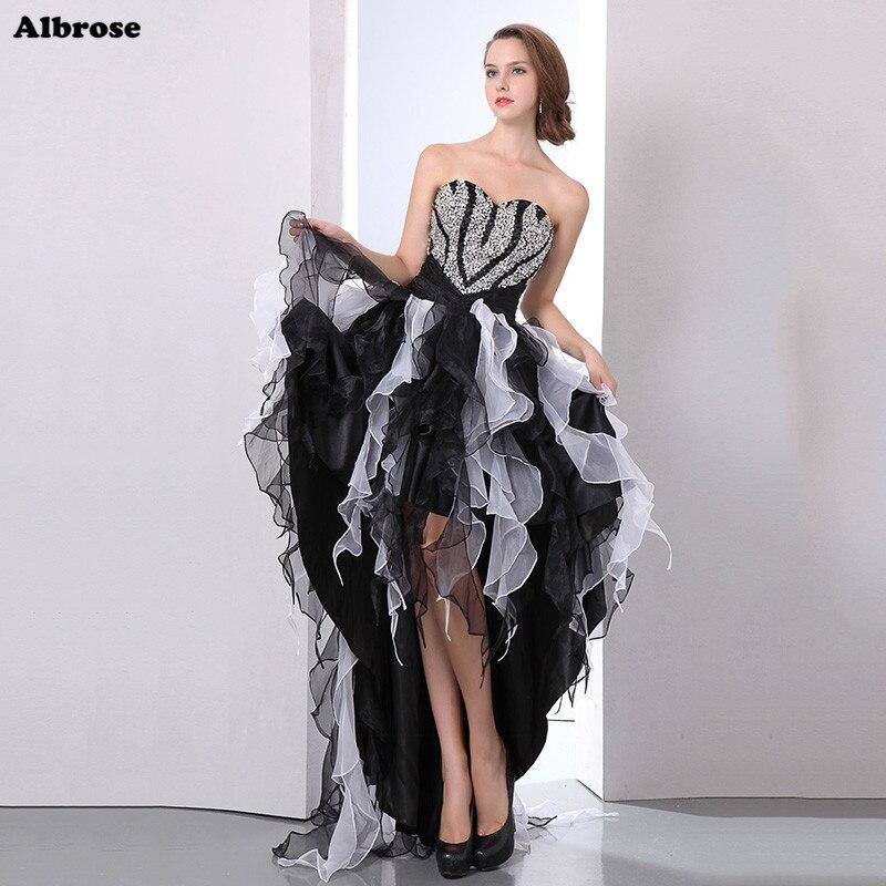 Seksi Yüksek Düşük Siyah ve Beyaz Abiye Kristaller Zarif Abiye Uzun Örgün Elbise Chic Balo elbise robe de soiree