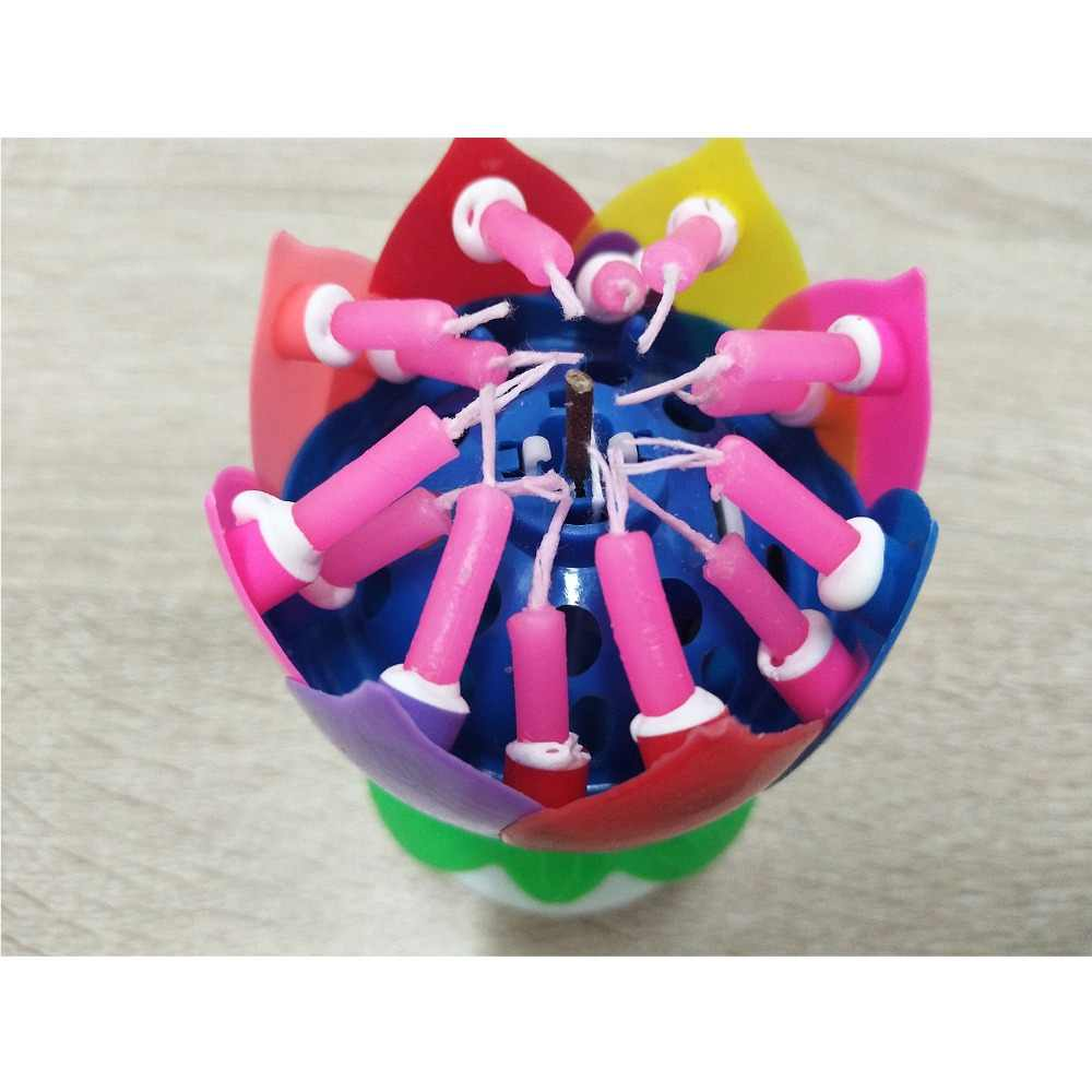 Music Birthday Candle Multi Colors Musical Lotus Flower Rotating Happy With 14 Candles