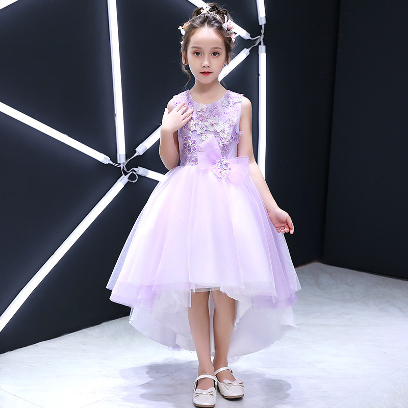 2018 Summer New Fashion Luxury Children Kids Purple Birthday Holiday Party Princess Lace Flowers Prom Dress Baby Girl Tail Dress ems dhl free 2018 new lace tulle baby girls kids sleeveless party dress holiday children summer style baby dress valentine