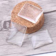 Onwear 20 pcs 25x30mm retângulo transparente claro cabochão de vidro plano de volta descobertas jóias diy