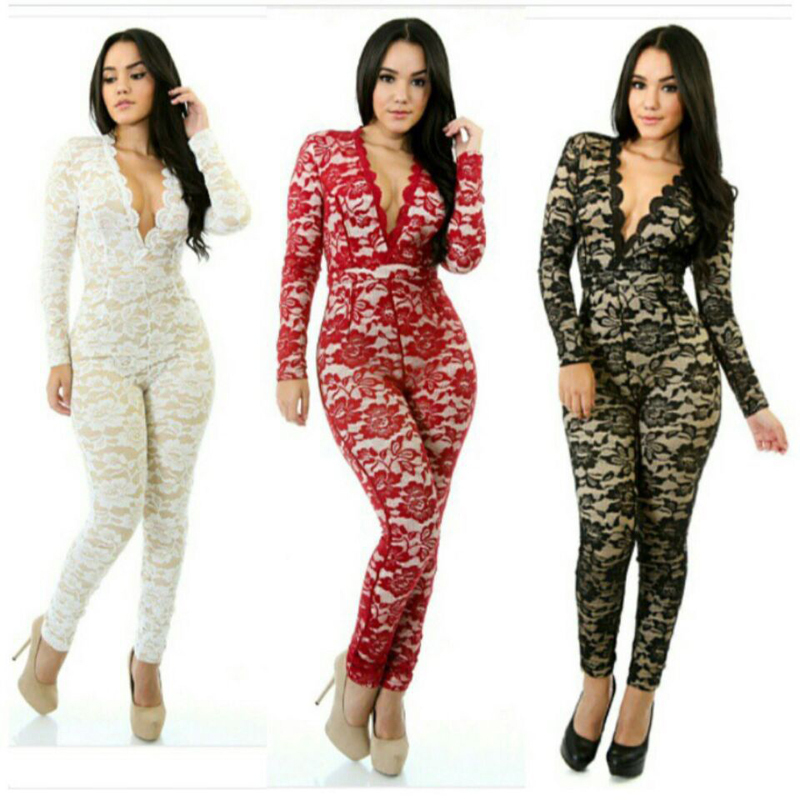 f44e5a7d21c Autumn Full Lace Stretch Onesie Deep V Neck Bodycon Long Sleeve Jumpsuits  Sexy Women White Black Red Bodysuit Slim Party Rompers