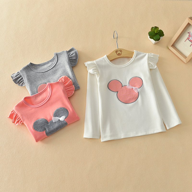 цены Cartoon Girls Long Sleeve T shirt Cotton Tops Cute Children Clothing For Baby Girls O Neck T Shirts Spring Kids Clothes 2018 New