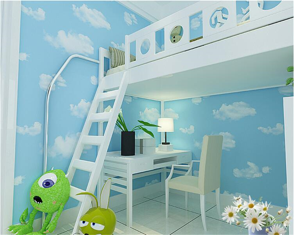 beibehang Beautiful fashion green nonwoven wallpaper children s room cartoon blue sky white clouds papel de parede 3d