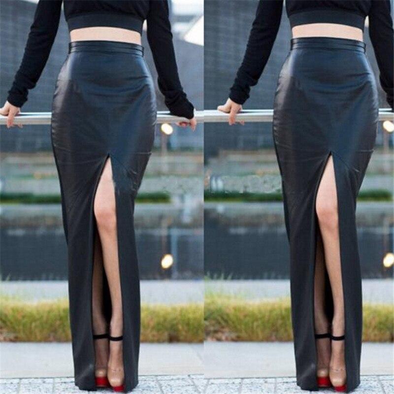 WBCTW Crna PU Koža Seksi Bodycon Otvoreni Slide Jesen Žene Suknja - Ženska odjeća