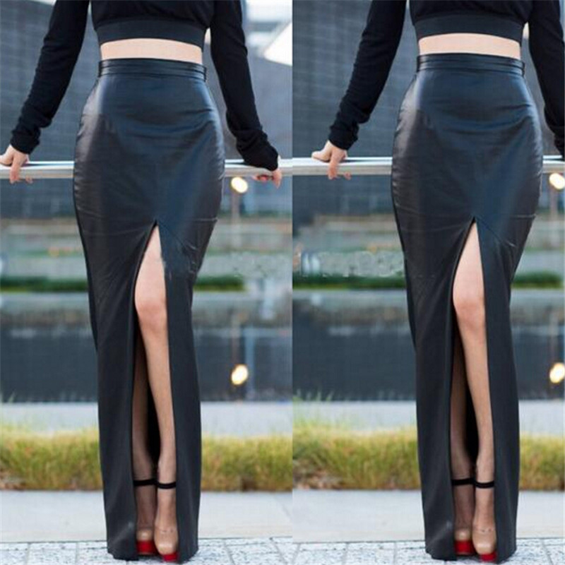 Black PU Leather Sexy Bodycon Slim Open Slide Autumn Womens Skirts 2016 High Waist Maxi Long