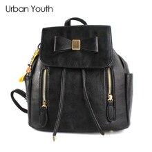 Городской молодежи мода кожаный рюкзак для девочек-подростков с бантом strawstring рюкзак больше Ёмкость дорожная сумка Mochila