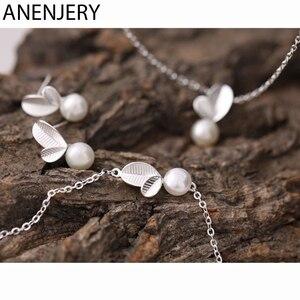Женский комплект ювелирных изделий ANENJERY, ожерелье + серьги + браслет с искусственным жемчугом в виде бутонов и листьев из 925 пробы серебра