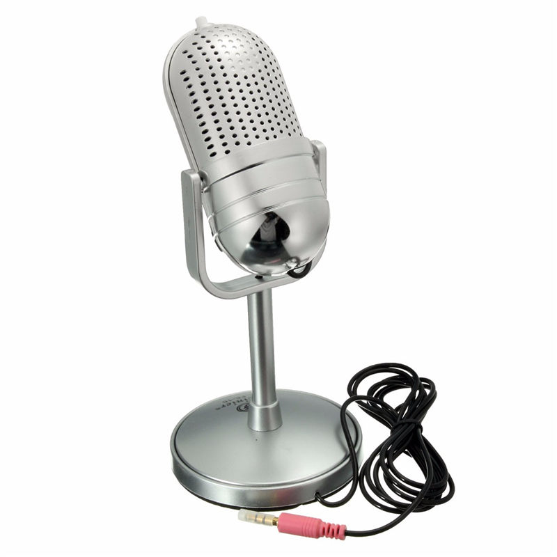 New Sliver Retro 3.5 mm Desktop Recording Singing Microphone MIC Stand For Mac PC Computer Microphone Laptop Desktop Karaoke KTV