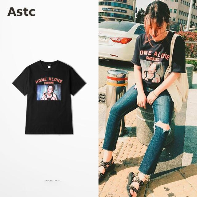 2017 Fashion Design Funny T Shirt Men Home Alone Smoking Print T Shirt Moto  Retro