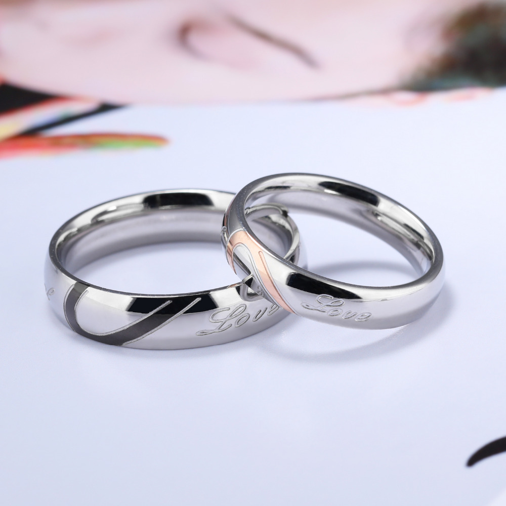 316L Stainless Steel Silver Half Heart Simple Circle Real Love Couple Ring 3