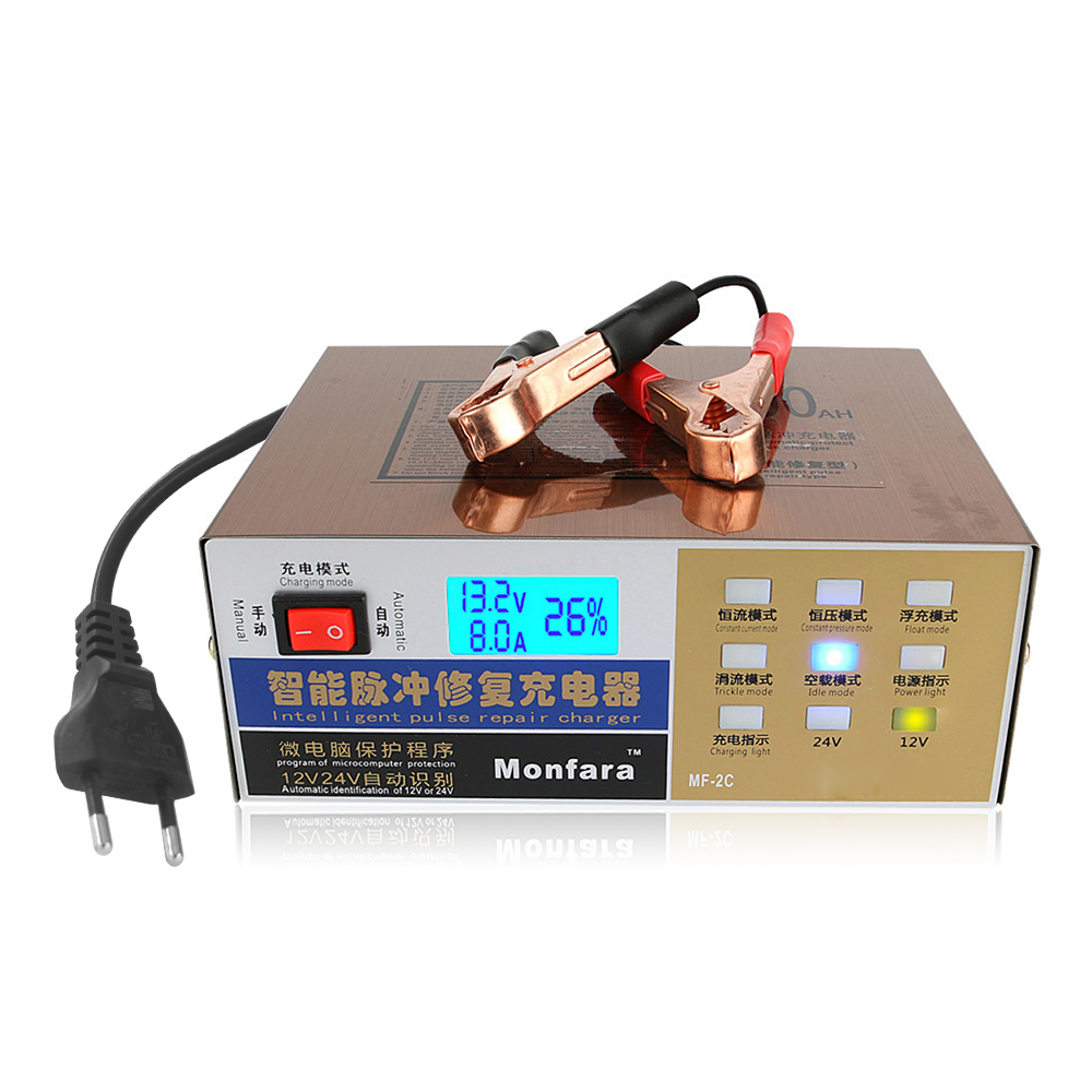 Hot 110 V/220V US Car Battery Charger Fully Automatic Intelligent Electric Repair Type Pulse 12 V / 24 V 100AH Battery Charger