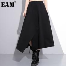 [EAM] новая весенняя юбка с высокой эластичной талией, черная юбка с неровным подолом, свободная юбка с большим подолом, женская мода, JE52401M