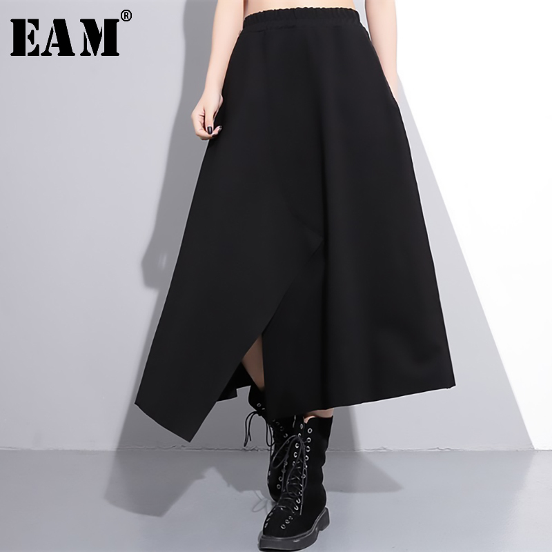 [EAM] 2020 New Spring High Elastic Waist Black Irregular Hem Vent Loose Big Hem Half-body Skirt Women Fashion Tide JE52401M