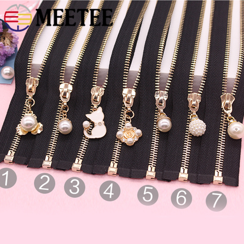 1Pc 5 Open End Metal Zipper Auto Lock Eco friendly Pearls Zippers For Coat Jackets Sewing Zips DIY Clothing Accessories in Zippers from Home Garden