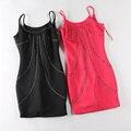 Venta!!! Orden Alemana Mujer Rhinestones Del Vestido con las hombro-correas Sólido ColorNail Grano Envío Libre Del Vestido 3 colores