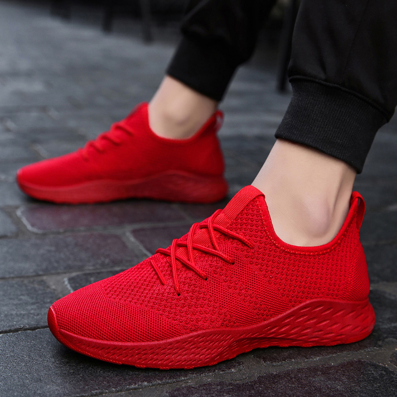 GNOME 2018 New White Red Black Fly Weave Sneakers Men Plus Size 48 Light Casual Shoes Men Famous Brand Designer Tenis Men Shoes