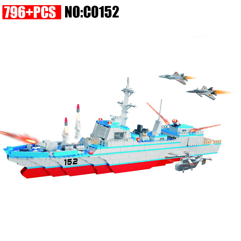 C0152 796pcs Military series Missile destroyer Building Blocks set DIY Bricks Toys for Children Funny Christmas Gift