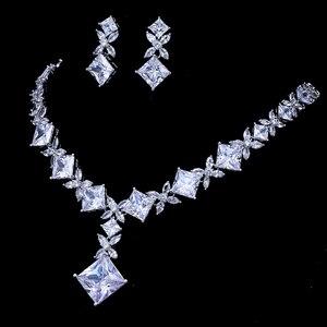 Image 3 - Emmaya Marca Zircone Cubico Set di Gioielli Da Sposa Argento Colore Collana Gioielli Orecchini Set Wedding Parure Bijoux Femme Partito