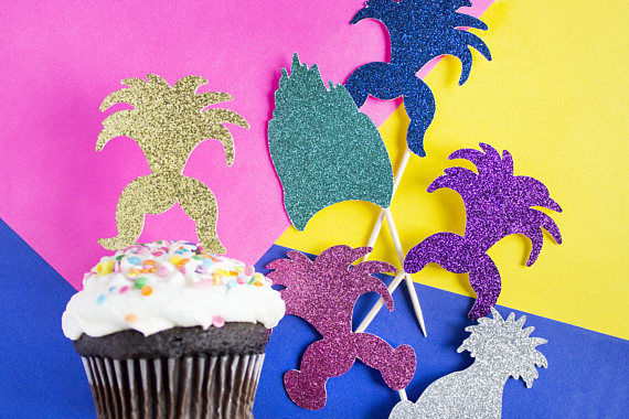 Glitter Trolls Theme Boy Birthday Wedding Cupcake Toppers Baby Shower Party Cake Decoration Doughnut Food Picks