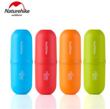 Naturehike 4 in 1 Travel Hotel Portable Toothbrush Capsule Shape Toothpaste Wash Cup Box Tooth Cylinder Storage