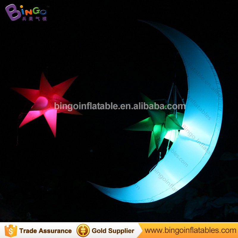 2m High inflatable lighting crescent moon for advertising Colorful LED Night Club Decoration Inflatable Meniscus Crescent Moon