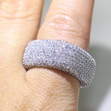 Stunning Original Luxury Jewelry 925 Sterling Silver White Clear AAAA Cubic Zirconia Square Promise Women Wedding band Ring Gift