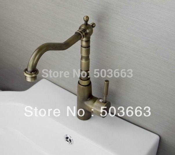 Elegant One Lever Antique brass Finish Kitchen Sink Swivel Faucet Mixer Taps Vanity Brass Faucet L-9023 Mixer Tap Faucet все цены