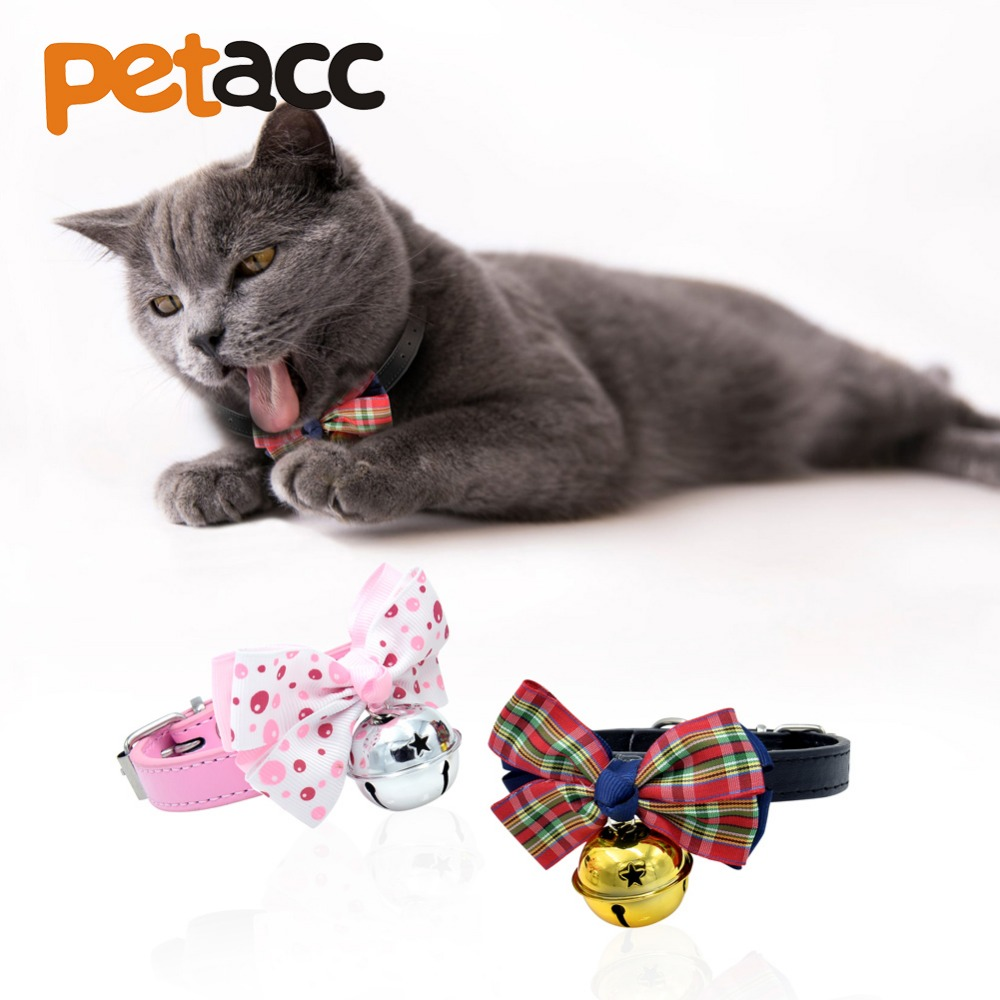 Petacc Lovely Pet Collar Dog Bow Tie Adjustable Pet Bowtie Neckties for Small Cats and Dogs, with Pretty Bowknot and Small Bell