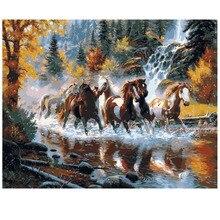 Moderne diy öl auf leinwand malerei wandkunst home decor bilder malen nach zahlen cuadros decoracion 40*50 cm pferd
