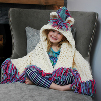 Children Cartoon Winter Hat Girls Cute Unicorn Warm Wool Skullies Scarf Knitted Beanie Cap For Kids Red Stole Pashmina Blanket