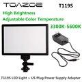 TOAZOE T119S ultra-delgada Fotografía Luz de Relleno 3300 K-5600 K CRI95 + Luz de Vídeo LED + EE. UU. enchufe Adaptador de fuente de Alimentación para la Cámara de DSLR
