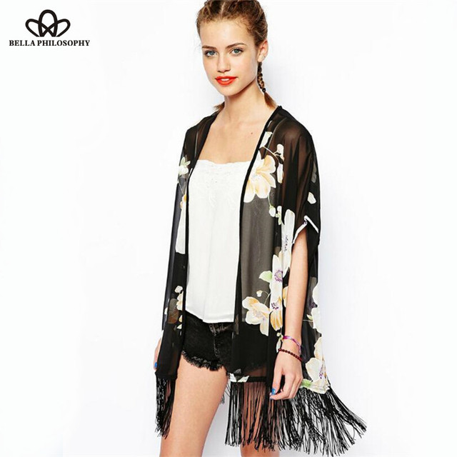 2015 summer new European and American fashion chiffon flower print fringed tassels black sleeveless kimono jacket