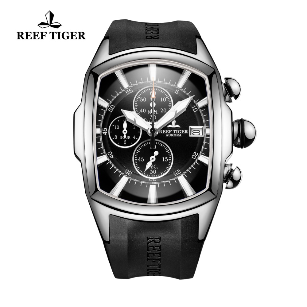 Reef Tiger/RT Top Brand Luxury Sport Watches for Men Steel Rubber Strap Chronograph Waterproof Watch Relogio Masculino RGA3069-T