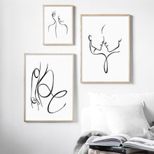 Abstract Sexy Woman Body Line Nordic Posters And Prints Wall Art Canvas Painting Black White Wall Pictures For Living Room Decor(China)