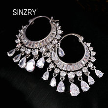 SINZRY NEW cubic zircon elegant party bridal waterdrop tassel dangle earrings dazzling wedding jewelry accessory